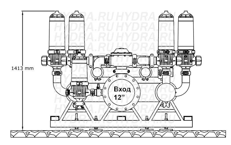 Чертеж дискового фильтра HF 406D/12FX Helix