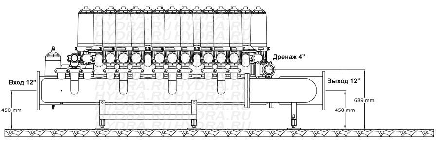 Чертеж дискового фильтра HF 407D/12FX Helix