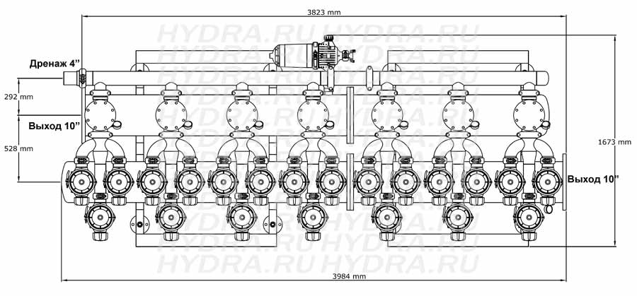 Чертеж дискового фильтра HF 407L/10FX Helix