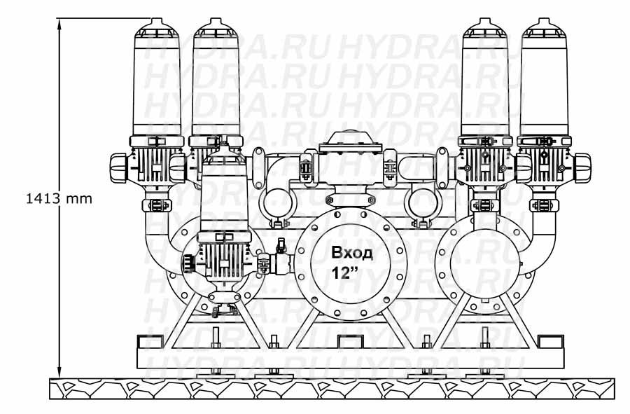 Чертеж дискового фильтра HF 408D/12FX Helix