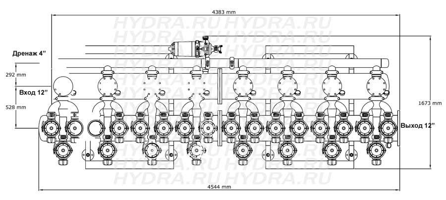 Чертеж дискового фильтра HF 408L/12FE Helix