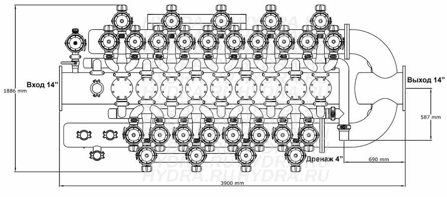 Чертеж дискового фильтра HF 409D/14FX Helix