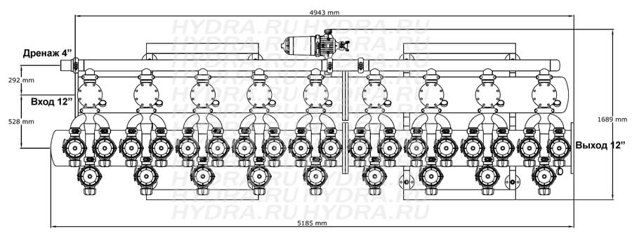 Чертеж дискового фильтра HF 409L/12FE Helix