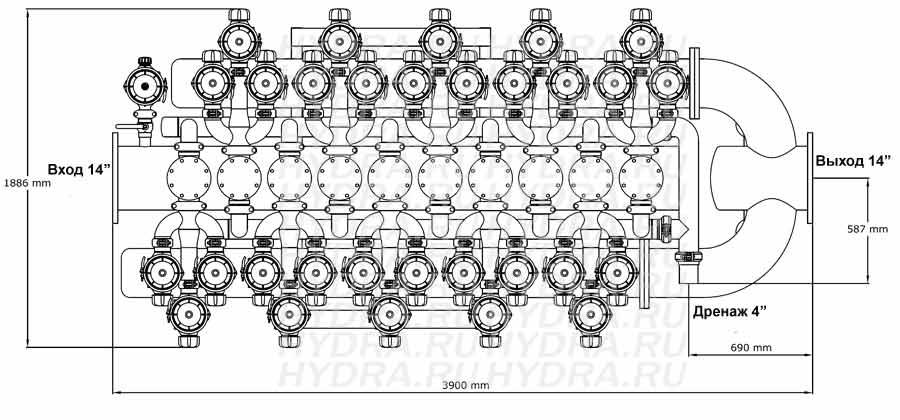 Чертеж дискового фильтра HF 410D/14FX Helix