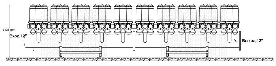 Чертеж дискового фильтра HF 410L/12FE Helix