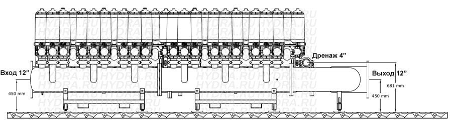 Чертеж дискового фильтра HF 412L/12FE Helix